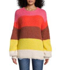 saks fifth avenue women's striped alpaca-blend sweater - camelia rose - size m