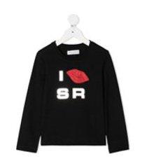 sonia rykiel enfant camiseta mangas longas com estampa de lábios com tachas - preto