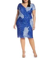 plus size women's js collections leaf soutache v-neck cocktail dress, size 22w - blue