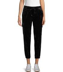 betsey johnson performance women's drawstring velvet pants - black - size s
