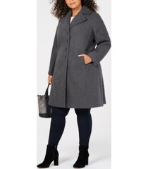 tommy hilfiger plus size single-breasted walker coat, created for macy's