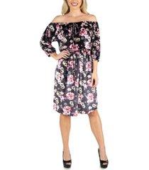24seven comfort apparel women's floral off shoulder knee length velvet dress