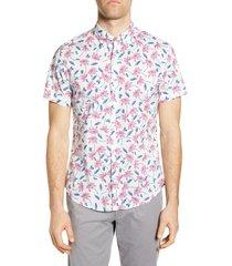 men's bonobos riviera slim fit tropical short sleeve button-down shirt, size x-large r - white