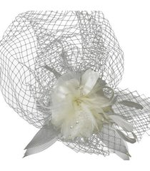 narelle women's russian white hat with swarovski crystal & feather accents with