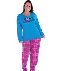 pijama plus size victory inverno frio malha fria feminino