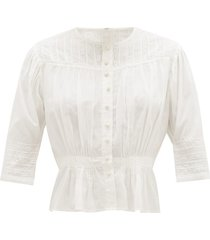 barton lace-trimmed organic-cotton blouse