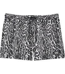 burberry leopard print drawcord swim shorts - black