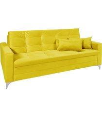 sofá cama 3 lugares facility reclinável império estofados amarelo