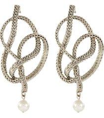 braided chain faux pearl earrings