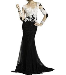 blevla blevla sleeves lace tulle mermaid prom dresses evening gowns white us ...