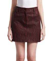 a.l.c. women's troy snakeskin mini skirt - red - size 4