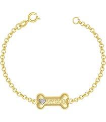 pulseira prata mil com osso 18mm my dog com ródio dourado