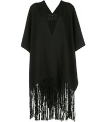 voz oversized fringed poncho - black