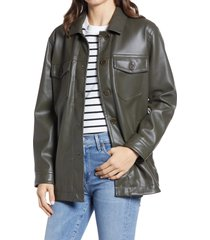 women's madewell faux leather chore jacket, size large - green