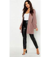 collarless pocket detail duster jacket, taupe