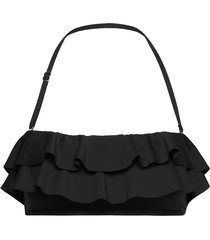 iconic solids ruffle bandeau bikini top bikinitop svart michael kors swimwear