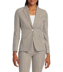 akris punto women's striped seersucker blazer - tan - size 2