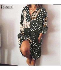 zanzea mujer vintage manga larga botones abajo fiesta de verano camisa larga vestido mini vestido -verde