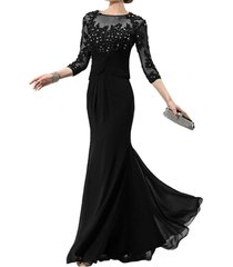 dislax 3/4 sleeves lace appliques chiffon mother of the bride dress prom gowns b