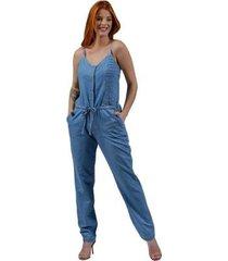 macacão zayon jeans nervuras azul - feminino