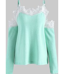 lace panel cold shoulder sweater