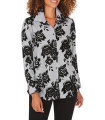 women's foxcroft jane flocked floral stripe tunic shirt
