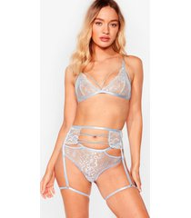 womens lace is more 3-pc strappy lingerie set - dusty blue