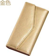 gran capacidad cartera para mujer/ bolso de embrague-dorado
