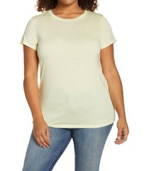 halogen(r) jersey crewneck shirt, size 3x in green wheat at nordstrom
