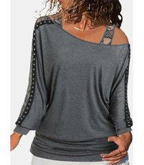 camicetta da donna con spalle scoperte casual in pizzo patchwork plus