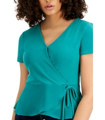 bar iii woven knit surplice top, created for macy's