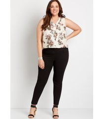 maurices plus size womens black textured bengaline skinny ankle pants