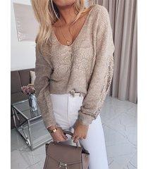suéter de manga larga con cuello en v y encaje con parche