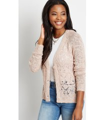 maurices womens solid lace stitch button front cardigan pink