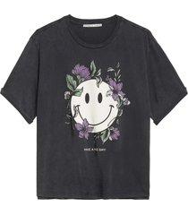 catwalk junkie t-shirt smiling flower dark grey