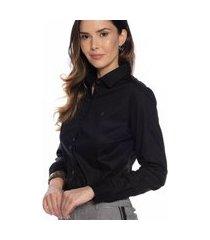 camisa camisete feminina algodão botão manga longa casual preto m preto