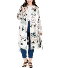 inc plus size tie-dye trench coat, created for macy's