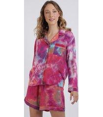 conjunto feminino mindset tie dye camisa manga longa com bolso + short multicor