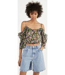 blouse met print en blote schouders