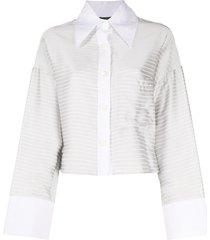 jejia horizontal-stripe cropped shirt - silver