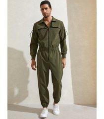 hombre vendimia streetwear mono utilitario multibolsillos con cremallera en la parte delantera mono