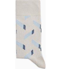 mens cream ecru terrence fever geometric socks