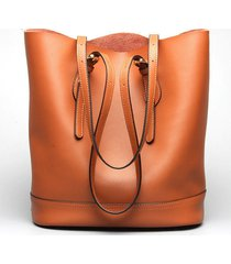 ekphero women genuine leather handbag high end tote bag bucket bag