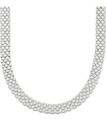 "polished satin mesh link 18"" statement necklace in sterling silver"