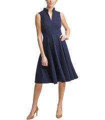 calvin klein ruffle-neck fit & flare dress