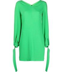 msgm tie-fastening shift dress - green