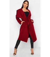 belted shawl collar coat, wine