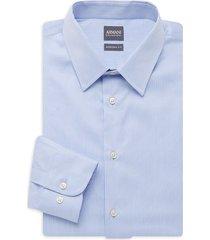 armani collezioni men's modern-fit stripe dress shirt - striped blue - size 17.5 44
