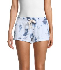 theo & spence women's basic tie-dye shorts - ice blue - size xs