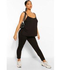 plus swing hemdje en legging set, zwart